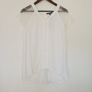NWT Brixon Ivy white lace cap sleeve flowy blouse